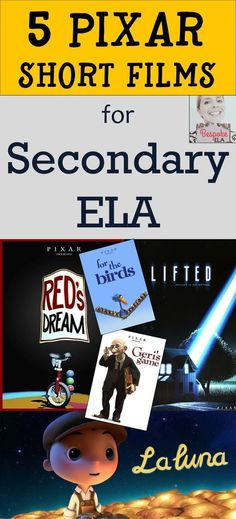 In this blog post by Bespoke ELA, you will find 5 Pixar short films to use for teaching skills in secondary English Language Arts in grades 6-12.  Students will use the short films as a means of discussing theme, irony, suspense, subtext, point of view, a