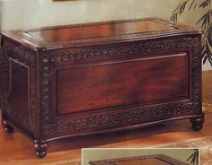 Cedar Chest Wood Home Storage Tobacco Finish Wooden Box