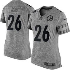 Nike Steelers #26 Le'Veon Bell Gray Women's Stitched NFL