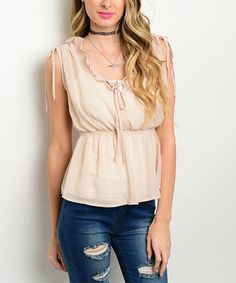 Look what I found on #zulily! Beige Ruffle Blouson Tank #zulilyfinds
