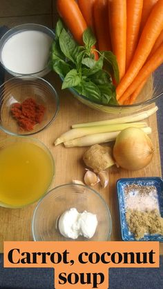 Chicken Soup Recipes, Healthy Soup Recipes, Crockpot Recipes, Vegetarian Recipes, Cooking Recipes, Carrot Coconut Soup, Coconut Milk Recipes, Carrot Soup, Soup And Salad