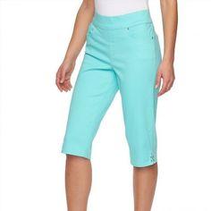 24.99$  Buy now - http://viyuc.justgood.pw/vig/item.php?t=iatdvhu8144 - Gloria Vanderbilt Aruba Aqua Blue Avery Skimmer Capris Petite Women's 14P NEW 24.99$
