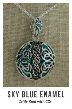 fc0bf51c32077 Norse Celtic Knotwork Pendant Sterling Silver with Sky Blue Enamel White    Black CZs Reversible Fancy