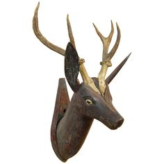Belgian Carved Deer with Natural Antlers, 1880   From a unique collection of antique and modern animal sculptures at http://www.1stdibs.com/furniture/more-furniture-collectibles/animal-sculptures/