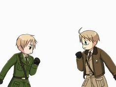 Funny gif of England and America playing Rock/Paper/Scissors - Hetalia