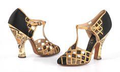 1935-1940, America Evening shoes by Delman Silk, leather, plastic, rhinestones MET