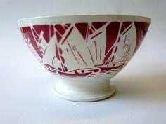 Rare BOL ANCIEN BADONVILLER, décor pochoir BATEAUX , vintage French bowl,Cuisine