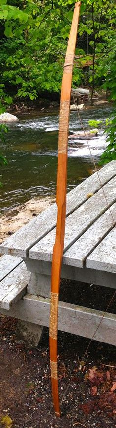 Osage Orange Bow - A 6-foot bow crafted from Osage Orange wood by John Walkingstick, Cherokee