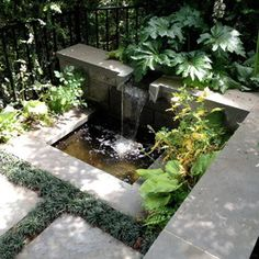 Garden water features are of course water features for your garden and this means things like waterfalls and fountains that … Modern Water Feature, Outdoor Water Features, Water Features In The Garden, Garden Features, Modern Landscaping, Backyard Landscaping, Modern Outdoor Fountains, Modern Fountain, Outdoor Ponds