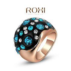Купить товарRoxi рождество нежный голубой с белым циркон техногенного мода роуз позолоченные большого кольца для ну вечеринку подарок в категории Кольцана AliExpress.                       Заказ до           50 USD            , А затем получить           подарок           от нас (