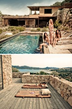 Weekend Escape: A Vacation Home On Corsica Banco Exterior, Hotels, Bungalows, My Dream Home, Outdoor Living, Swimming Pools, Backyard, Vacation, Mansions