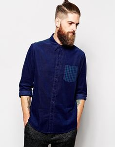 ASOS+Cord+Shirt+In+Long+Sleeve+With+Check