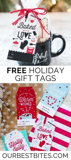 Free Holiday gift tags in any color scheme you can dream of! These free printable gift tags will finish of any gift perfectly! Great tag for neighbor gifts!