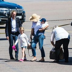 Crown Princess Victoria, Princess Estelle and Prince Oscar today at Kalmar Airport.  They return to Stockholm from Öland to celebrate Victoria's birthday tomorrow. Prince Daniel play the traditional Victoriagolfen this morning and return later.   #crownprincessvictoria #victoriaofsweden #princessestelle #estelleofsweden #princeoscar #oscarofsweden #victoriaanddaniel #sweden #swedenroyalty #swedenroyal #swedenroyals #swedishroyalfamily #swedishroyals #royalsweden #royalfamilysweden #sverige…