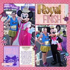 Layout by Heather. Meeting Mickey & Minnie at the Princess Half Marathon Finish Line. Credits: Project Mouse (Princess Edition): Bundle, Project Mouse (At Night): Bundle, and Project Mouse (Basics no.2): Bundle, all by Britt-ish Designs & Sahlin Studio. Character Cards and May 2014 Template Challenge, both by Britt-ish Designs. #believeinmagic: glass slipper by Amber Shaw and Studio Flergs.
