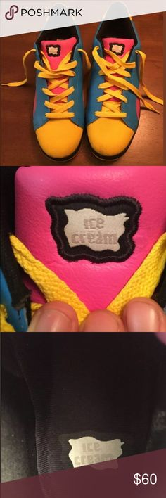 Rare Ice cream Pink Yellow Blue Reebok Skate Shoe Extremely rare, ice cream Reebok skate shoes, great condition with minor scuffs (pictured). Vibrant pink,blue and yellow. Size 15 mens Reebok Shoes Athletic Shoes