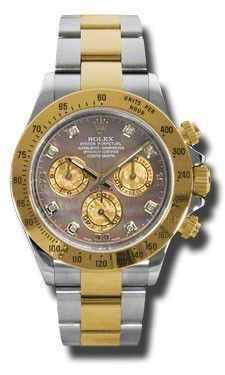 Rolex Oyster Perpetual Cosmograph Daytona Watches. 40mm stainless steel case, 18K yellow gold tachymeter engraved bezel, screw-down push buttons, dark mother of pearl dial, yellow mother of pearl subd