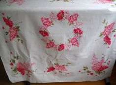 Vintage Tablecloth Lilac Bright Pink 46 x 51 Heavy by TAMMYMADEIT, $20.00