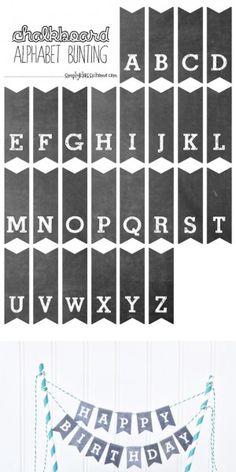 Printable Chalkboard Letters Cake Bunting (mini)