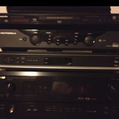 Old electronics: cd player, shaw terminals, amp.