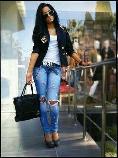 Zerrissene Jeans, Röhrenjeans, Winter Mode, Mode Outfits, Damenmode,  Stilvolle Mode, 9feec40650