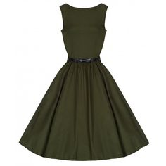 'Audrey' Green 1950's Style Swing Dress ($34) ❤ liked on Polyvore featuring dresses, green, circle skirt, green sleeveless dress, swing dress, vintage cocktail dress and vintage dresses