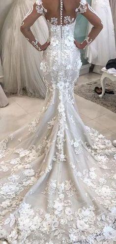 a557323e4f1 Gorgeous Appliques Mermaid Long Sleeve Wedding Dresses