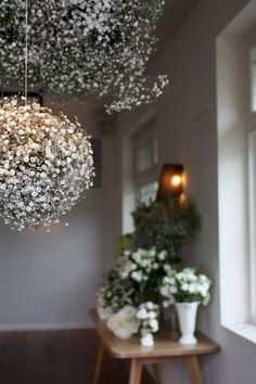 """Baby Breath Balls(Gypsophillia/Gyp)-Hang a foam ball that had been soaked. Make little 'bunches'of gyp, packing them in tightly. Stick double prong wire into foam ball starting at the top n working down. Approx 10/15 full bunches=100-200 little 'bunches'of gyp to go onto foam ball. """"Double prong wire technique is to bend wire into staple down stems, wind wire around stems twice n pull down to create two wires pointing down, in line with the stem."""""""
