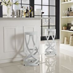 Drawing of 4 Contemporary Backless Counter Height Bar Stools for Modern Interior Design