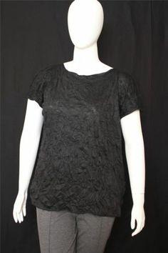 New Jones New York Black Short Sleeves Cut Off Shoulders Shrinked Top Size 1X