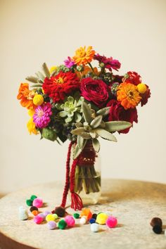 bouquet with yarn wrap // event design by Sweet Sunday Events, photo by EE Photo http://ruffledblog.com/knitted-bohemian-wedding-inspiration/