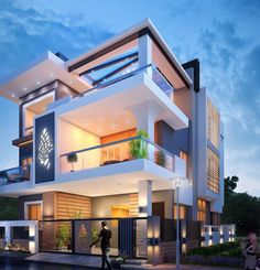 21 Impressive Modern Two Storey Exterior Renders for Inspiration - House And Decors Modern Exterior House Designs, Modern House Facades, Modern House Plans, Modern House Design, Bungalow House Design, House Front Design, Modern Bungalow, Small House Design, Architecture Design