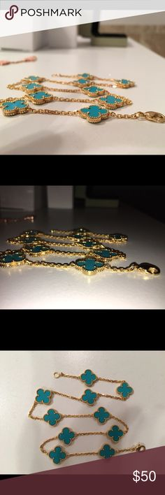 Van Cleef Turquoise & Yellow Gold Necklace Van Cleef Turquoise & Yellow Gold Necklace (inspired).  Very light in weight.  No idea of the material.  The links are not same size as authentic VCA!!  I paid $500 of the popular E website not knowing the quality was not what I had hoped. Jewelry Necklaces