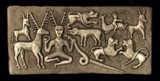 The 1st century B.C. ritual cauldron was found in the Danish bogs and depicts Cernunnos, Celtic god of the hunt, with animal symbols of power, magic and fertility.  It is an extremely important artifact in deciphering many aspects of Celtic mythology.  This is the most commented upon panel of the cauldron in that it includes many intriguing hints about Celtic beliefs, not the least being the inclusion of Cernunnos, the antler-headed god.
