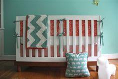 ORGANIC 7-Piece Custom Baby Bedding: in organic coral and aqua. $598.00, via Etsy.