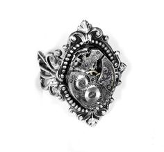 Steampunk Ring  Vintage Jeweled Watch Ring by edmdesigns on Etsy