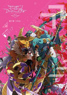 """Digimon Adventure Tri Part 5 Kyousei/Symbiosis Poster (HQ) feat. Hikari, Meiko, Ophanimon FallDown Mode and Meiccomon Mega. This will be released in 2017. """