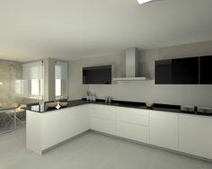 Modelo Line E Blanco | Encimera Granito Negro Happy House, Corner Bathtub, Home Kitchens, Minimalism, House Plans, Kitchen Cabinets, House Design, Flooring, Architecture