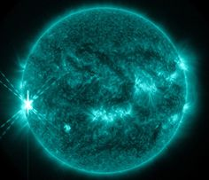 The second solar flare on Oct. 25, 2013 at 15:00 UTC was seen by NASA's SDO in the far ultraviolet, a wavelength of light where flares are particularly bright.