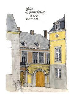 rue Bonne-Fortune, by Gerard Michel Building Illustration, City Illustration, Watercolor Illustration, Watercolour, City Drawing, House Drawing, Watercolor Architecture, Architecture Drawings, City Painting