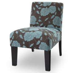 Blue Living Room Chair Modern Accent Furniture Armless Upholstered Flowered Seat #BlueLivingRoomChair #ModernContemporaryTransitional