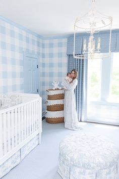 ShopStyle Look by bornonfifth featuring Dayna Side Chairs - Set of 2 Blue Nursery Girl, Light Blue Nursery, White Nursery, Baby Nursery Decor, Nursery Design, Baby Decor, Nursery Room, French Nursery, Boys Nursery Wallpaper