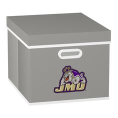 College Stackits James Madison University 12 in. x 10 in. x 15 in. Stackable Grey Fabric Storage Cube, Gray