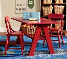 PB Kids - $400 for set, A table, soft rug and storage are all it takes to create a play space in the bedroom.