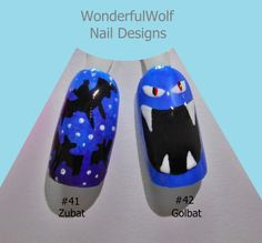 Zubat and Golbat Nail Art