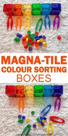 Magna-Tile Colour Sorting Boxes HAPPY TODDLER PLAYTIME Here is a fun and easy colour sorting activity for toddlers and preschoolers. It's part STEM part fine motor practice and part colour recognition but it's all fun! Toddler Learning, Preschool Learning, Toddler Preschool, In Kindergarten, Learning Activities, Activities For Kids, Childcare Activities, Steam Activities, Preschool Games
