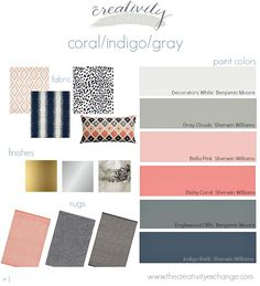 Room inspiration with paint colors.  Coral, navy and gray.  Moody Monday on The Creativity Exchange