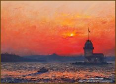 Biography: Javad Solimanpour was born in Tabriz. His first exhibitio. Java, Pinturas Color Pastel, Mini Paintings, Pastel Paintings, Water Art, Cool Art, Sunrise, Art Gallery, Museum