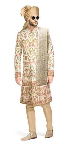 The pinnacle of Zardozi and Ari hand embroidery. Created by artisans over an extensive period of more than 2000 hours, this Sherwani is a piece of art.