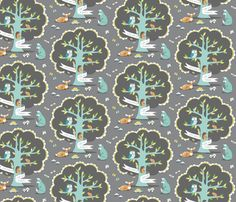 Les Amis - Dusk by pattysloniger on Spoonflower - wall decal, wallpaper, or gift wrap
